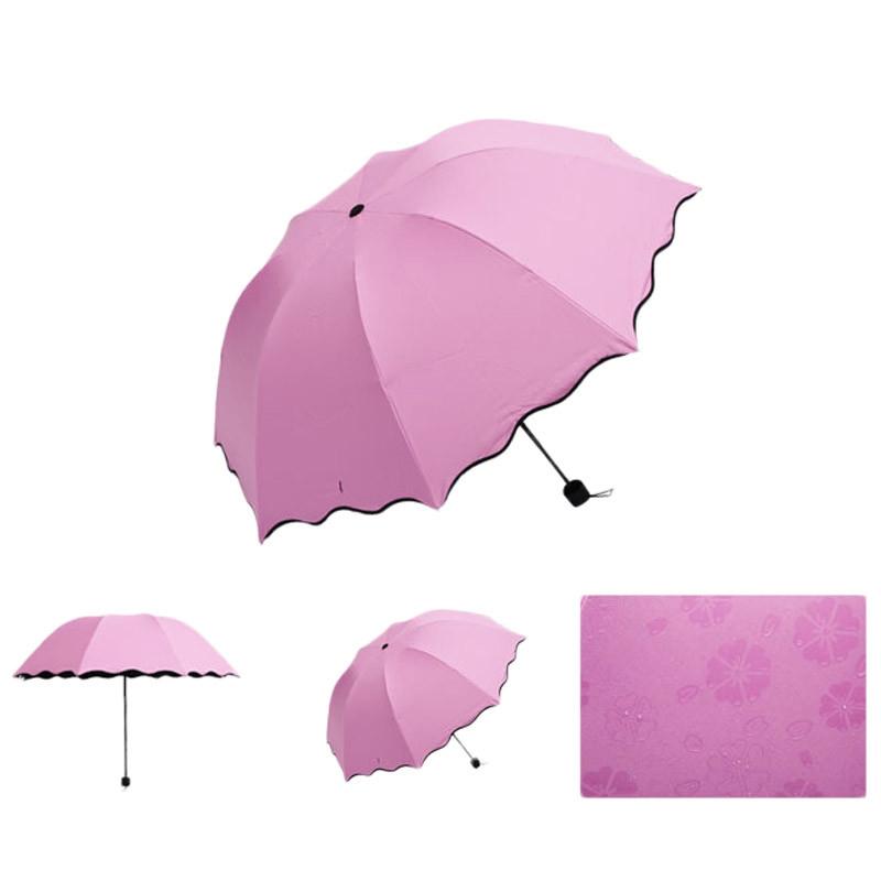 Складной зонт с волнистым краем и проявляющимися от дождя цветами - 3