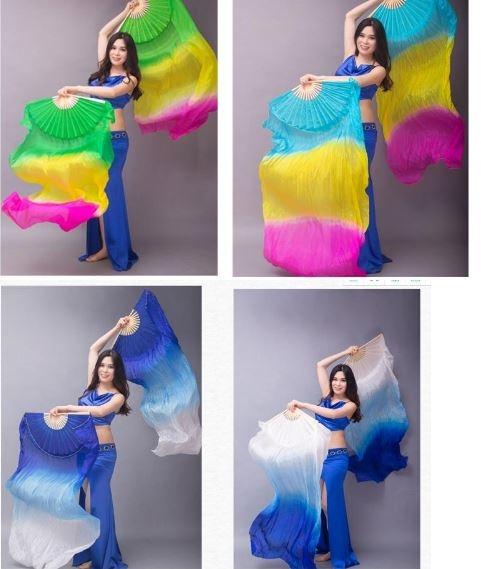Веера-вейлы для восточных танцев искусственный шелк (пара= 2штуки) - 6