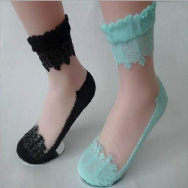 Носки романтичные с оборкой и шелковой вставкой (в наличии черные высокие) - 1