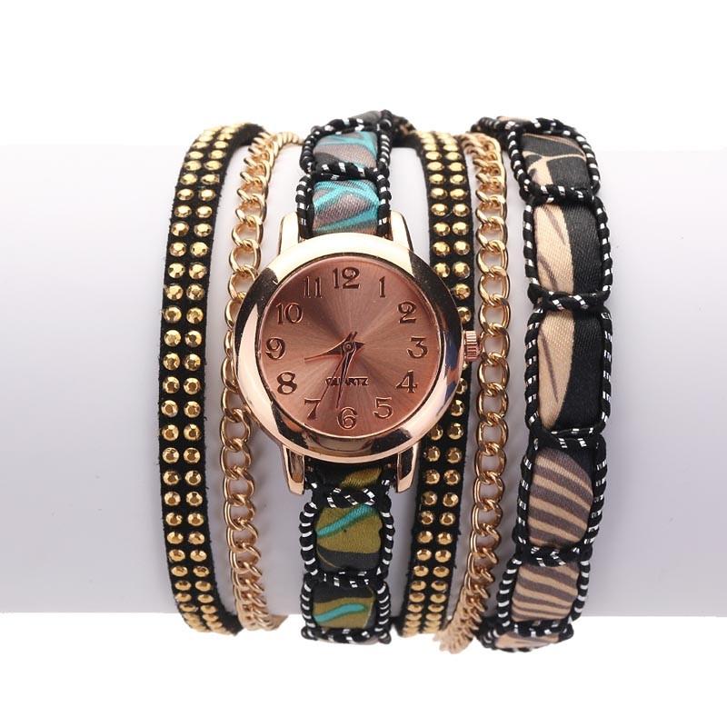 Часы-браслет женские наручные с лентой и цепочкой (в наличии черные) - 1