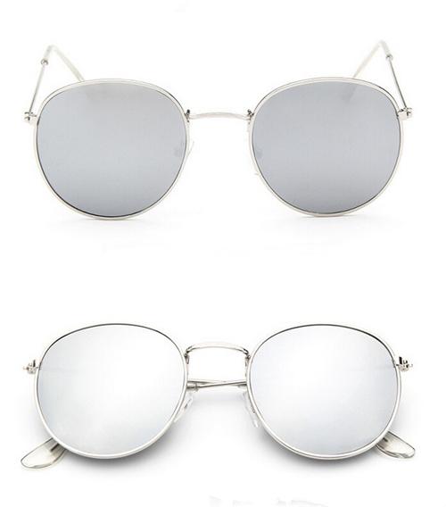 Округлые женские очки от солнца с тонкой металлической оправой (в наличии синее зеркало в золоте) - 3
