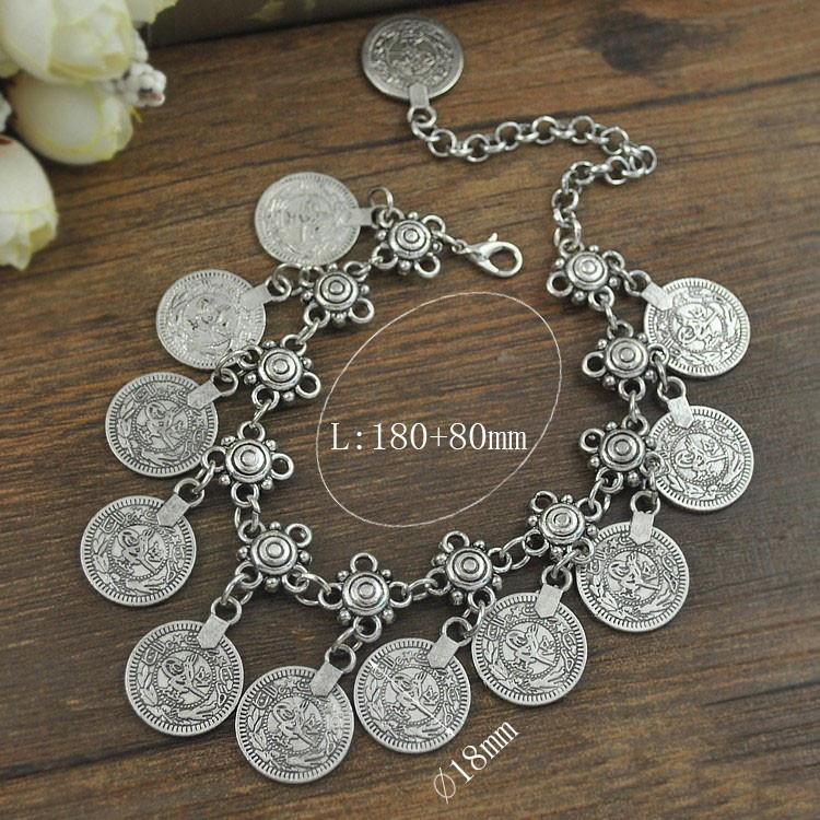 Ножной браслет  в восточном стиле с монетками (в наличии серебряный) - 1