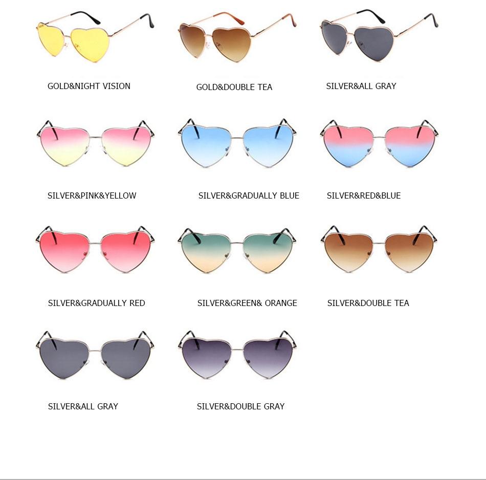 Солнцезащитные очки-сердечки с тонкой металлической оправой (в наличии голубые с легким градиентным переходом) - 3