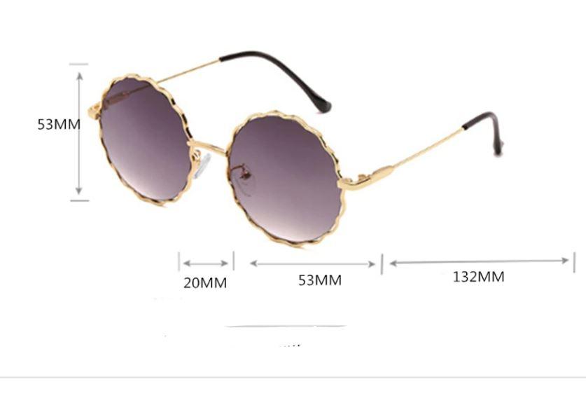 Круглые очки от солнца с волнистой металлической оправой и цветной линзой (коричневые и черные в золоте) - 2