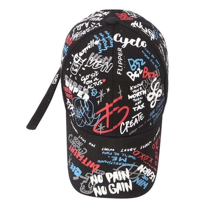 Кепка-бейсболка хлопковая с граффити в стиле панк и длинной тесьмой - 3