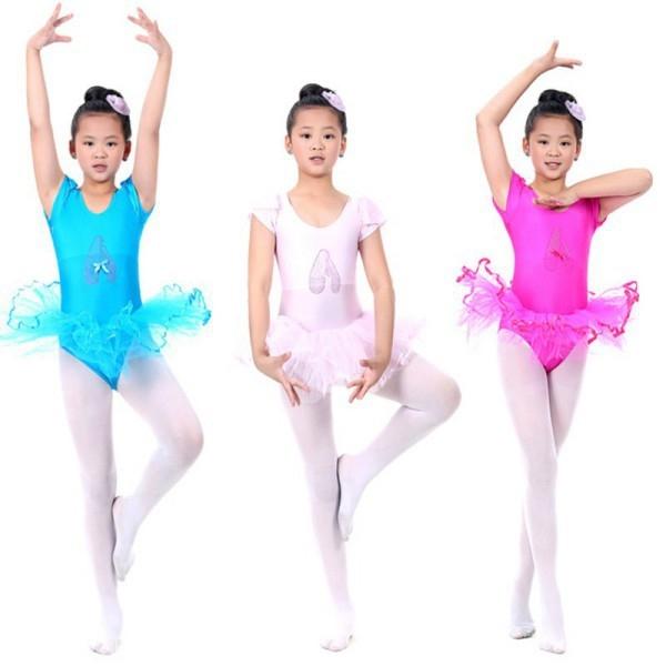 Детский купальник на короткий рукав с балетной юбкой для танцев и гимнастики - 1