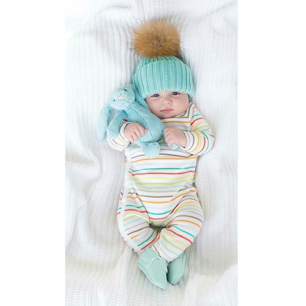 """Набор 2шт. вязанная косичкой теплая шапка с меховым помпоном """"Мама и я"""" - 1"""