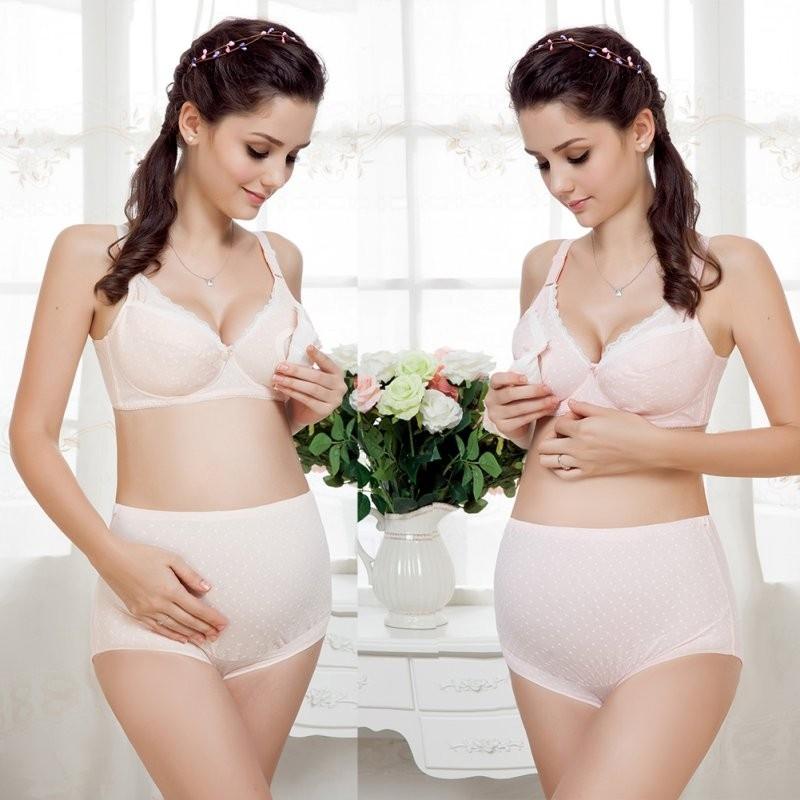 Бюстгальтер натуральный с белым кружевом и серединным открытием для беременных и кормящих женщин - 1