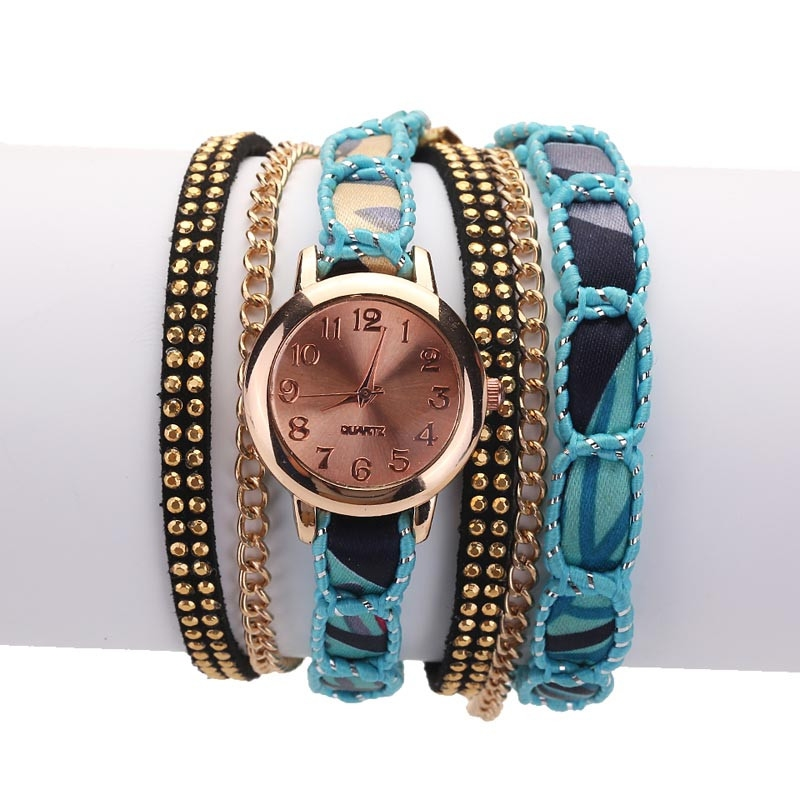 Часы-браслет женские наручные с лентой и цепочкой (в наличии черные) - 3