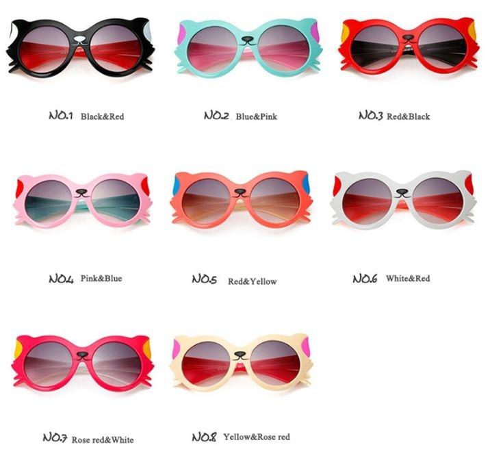 """Модные солнцезащитные двухцветные детские очки от солнца """"Котик"""" с градиентным переходом - 3"""