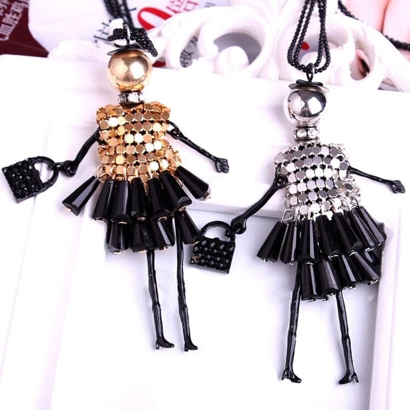 Подвеска кукла с сумочкой на длинной цепочке (в наличии черно-розовая) - 2