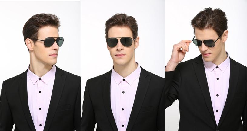 Солнцезащитные поляризованные мужские очки-авиаторы с дымчатой линзой и пружинящими дужками - 1
