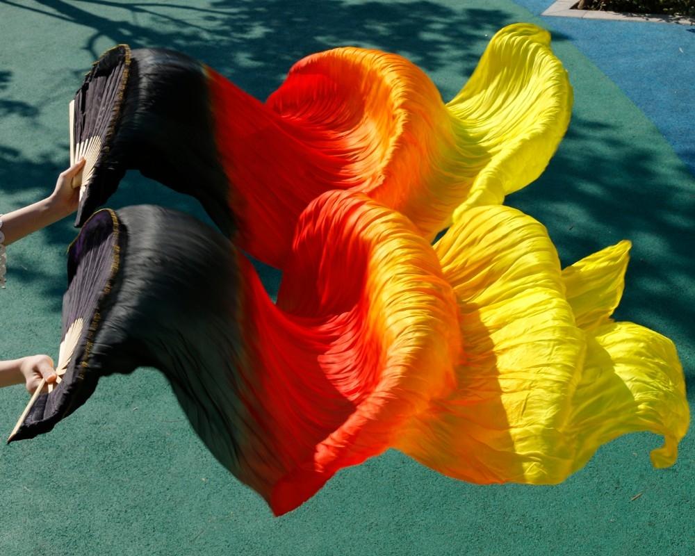 Веера-вейлы натуральные шелковые для восточных танцев (пара= 2штуки) - 2