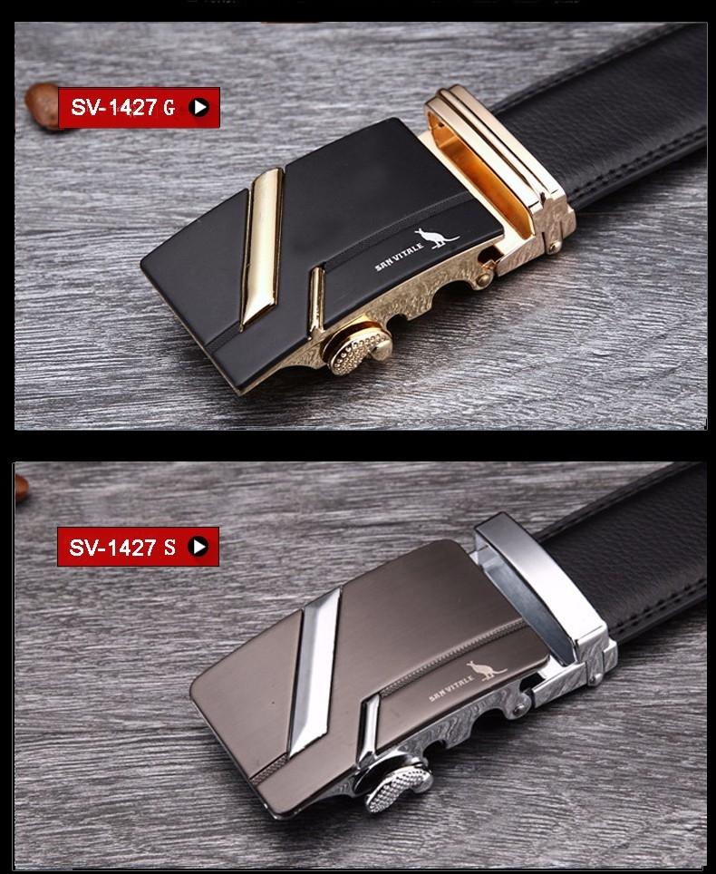 Мужской ремень из натуральной кожи с пряжкой автомат SAN VITALE - 5