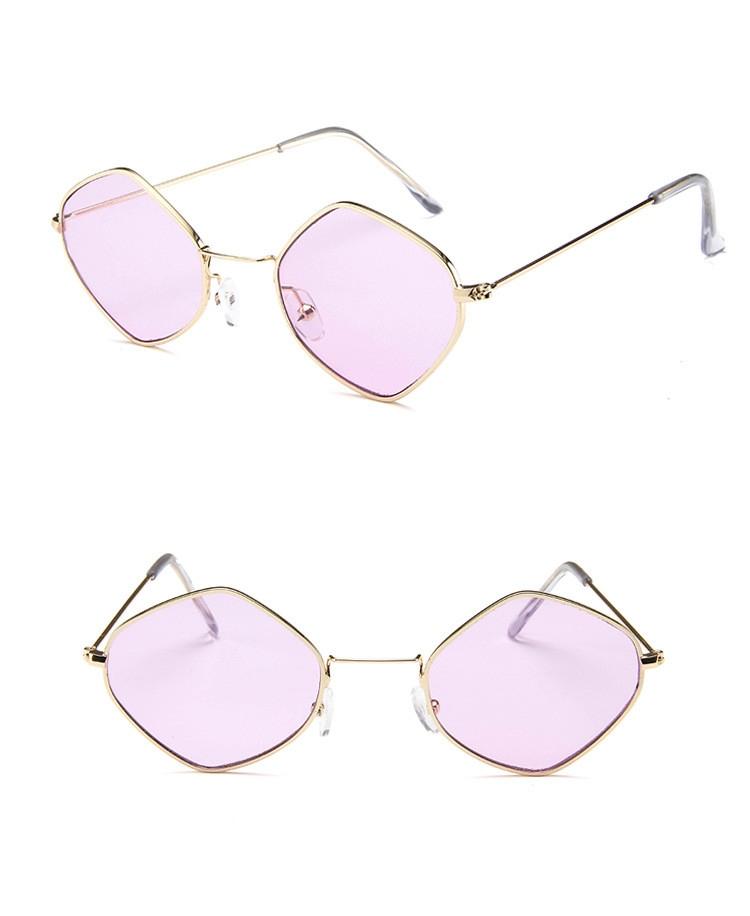 Солнцезащитные очки-ромбы с тонкой металлической оправой (в наличии розовые) - 11