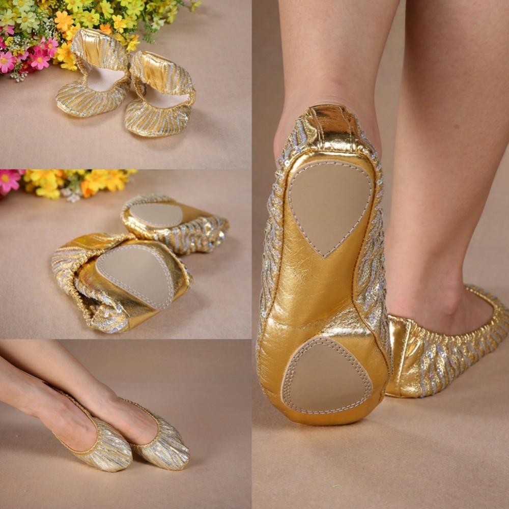 Полосатые золотые чешки-балетки для восточных танцев - 1