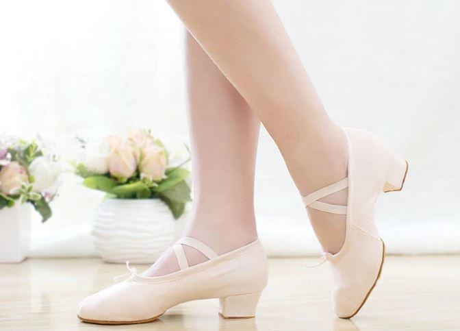 Танцевальные балетки-чешки на каблуке с утяжкой хлопковые + вставка кожа - 5