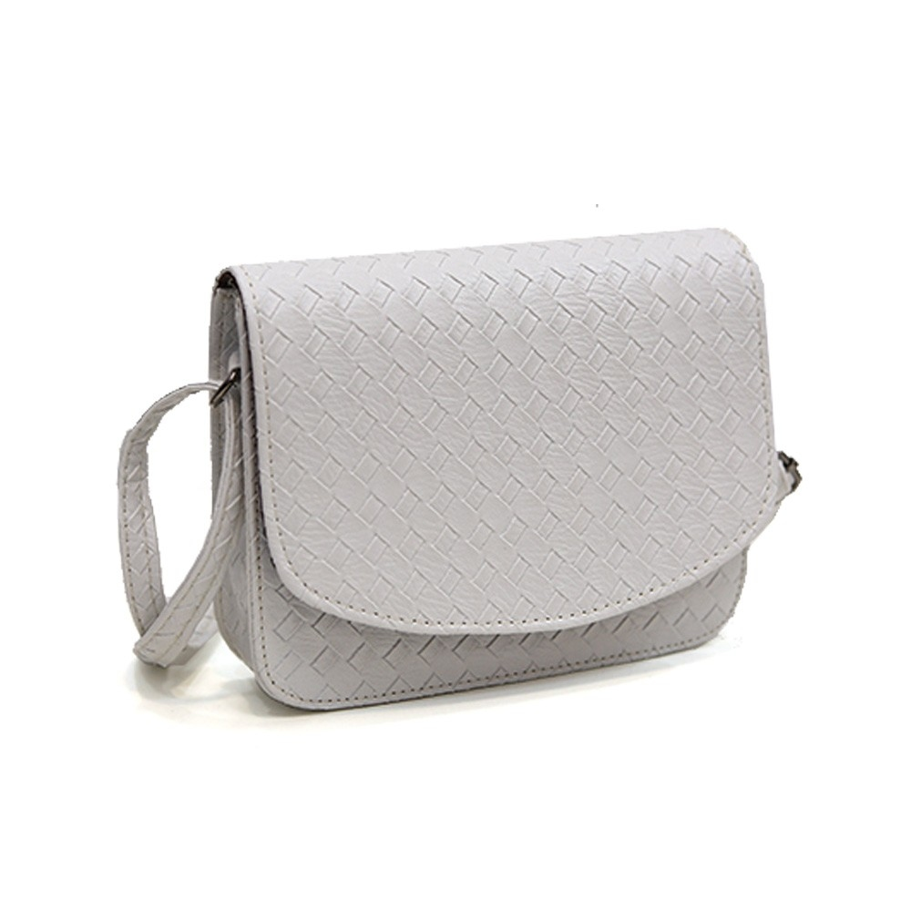 Плетеная женская сумка-почтальон с металлическим оттенком - 3