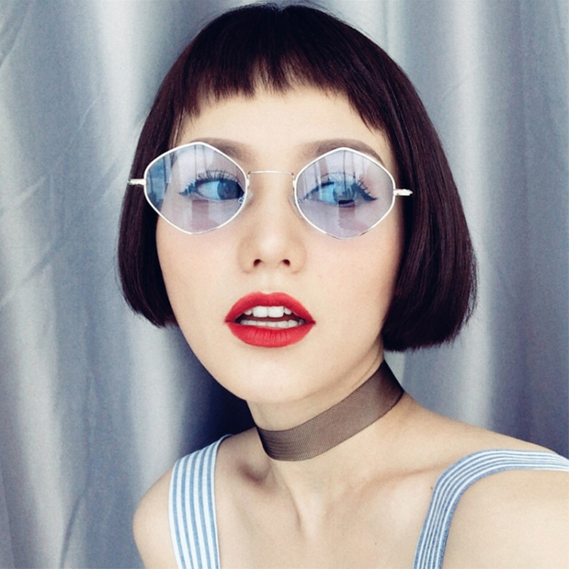 Солнцезащитные очки-ромбы с тонкой металлической оправой - 4