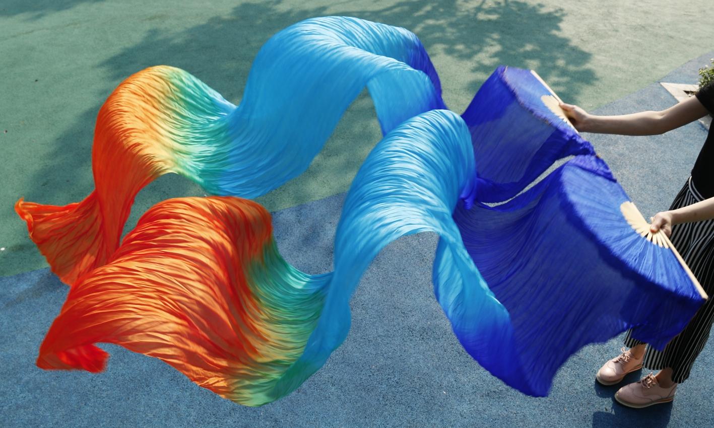 Веера-вейлы натуральные шелковые для восточных танцев (пара= 2штуки) - 11