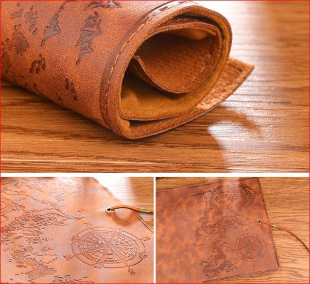 """Пенал-свиток кожаный школьный """"Пиратская карта"""" (в наличии коричневый) - 3"""