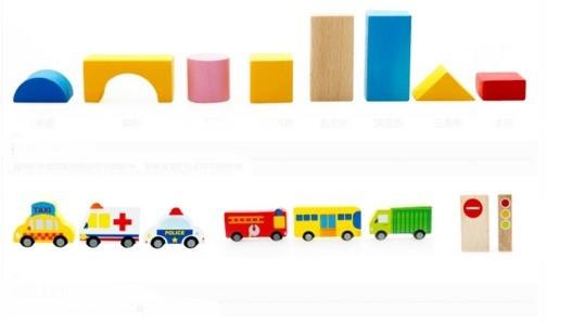 """Эко-набор деревянный пазл-коврик-дорога плюс дома и машины """"The urban traffic blocks""""  """"Город из кубиков"""" 62 детали - 7"""