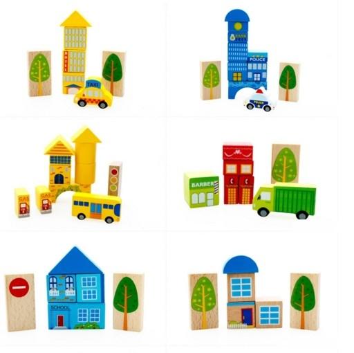 """Эко-набор деревянный пазл-коврик-дорога плюс дома и машины """"The urban traffic blocks""""  """"Город из кубиков"""" 62 детали - 6"""