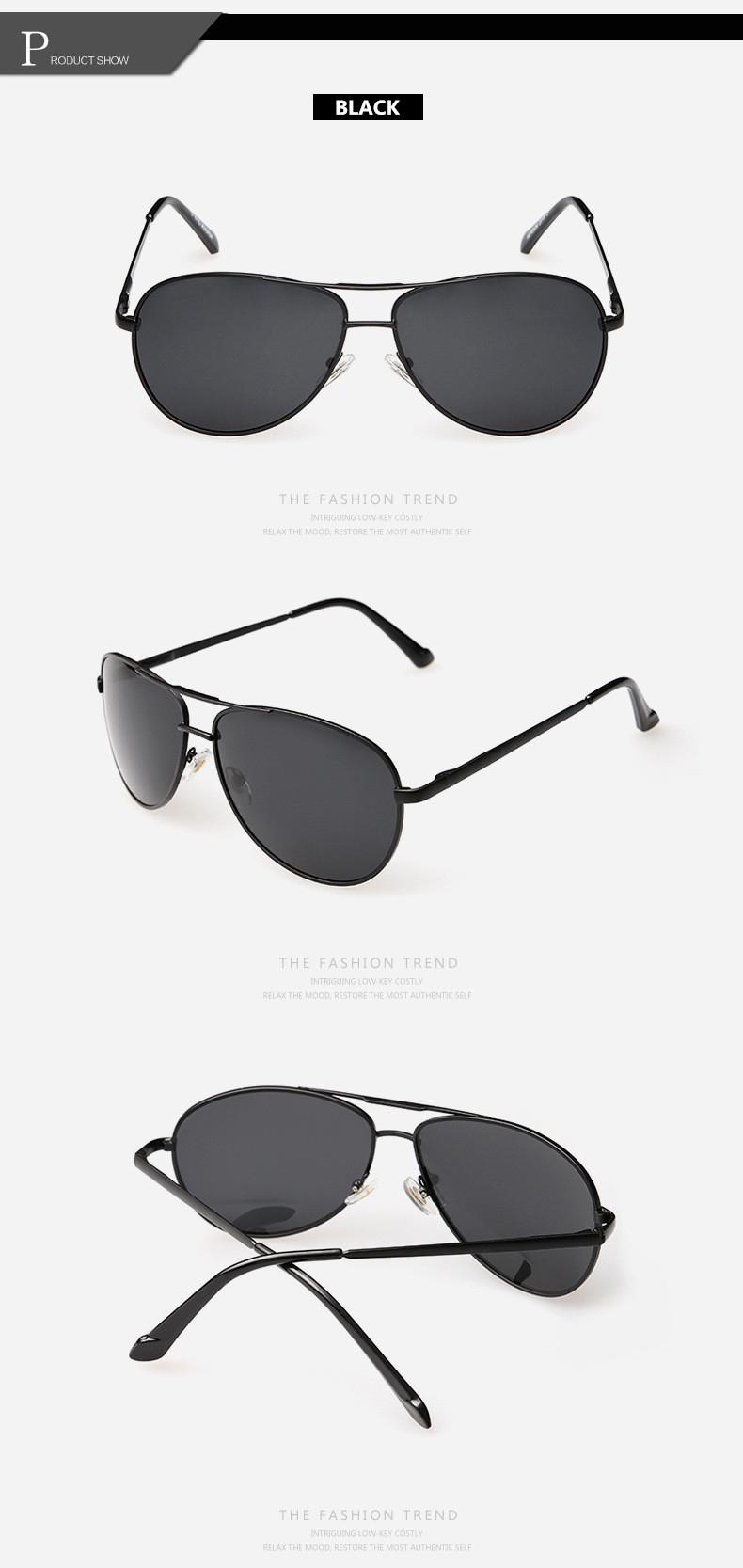 Солнцезащитные поляризованные мужские очки-авиаторы с дымчатой линзой и пружинящими дужками - 3