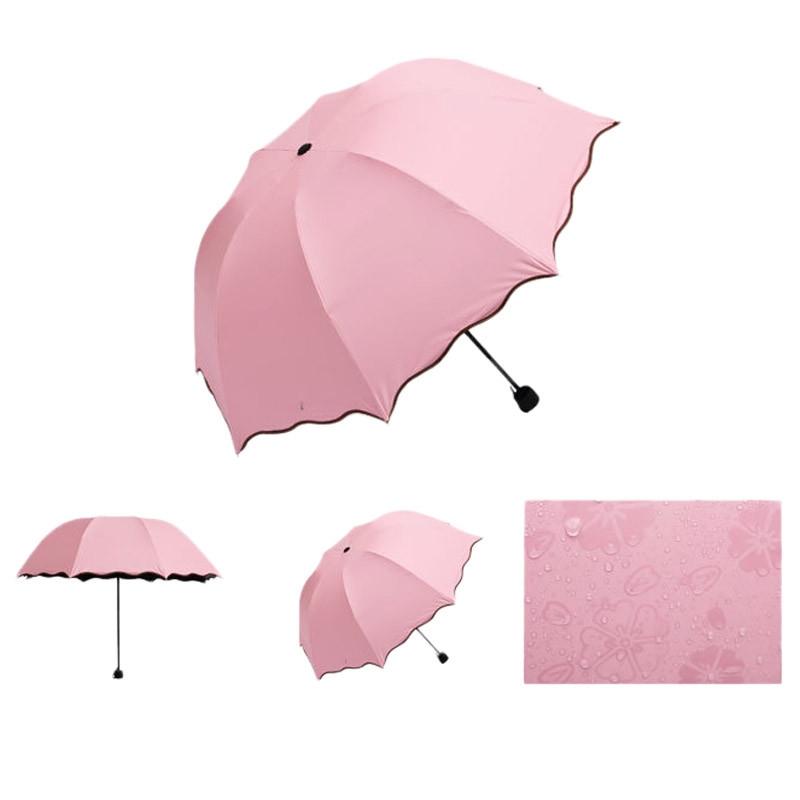 Складной зонт с волнистым краем и проявляющимися от дождя цветами - 2