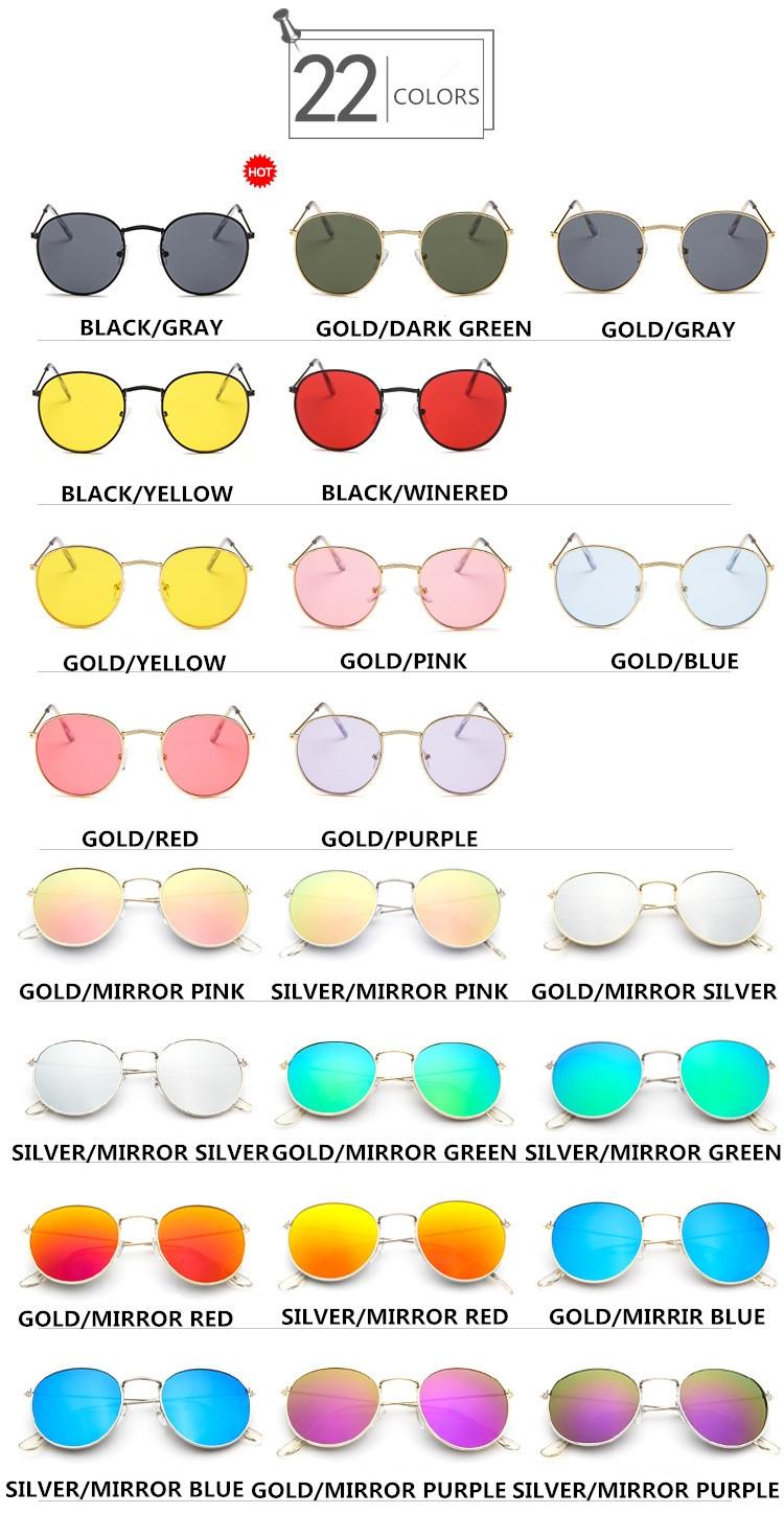 Округлые женские очки от солнца с тонкой металлической оправой (в наличии розовое зеркало в золоте, серебряные и черные в серебре) - 8