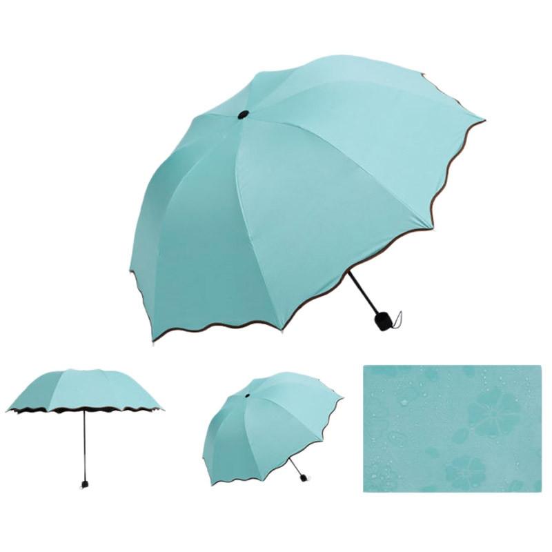 Складной зонт с волнистым краем и проявляющимися от дождя цветами - 1
