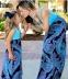 Черно-бирюзовое на длинный рукав платье-макси для мамы и дочки - 1