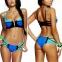 Бандажный женский раздельный купальник неоновый с молниями и пуш-ап эффектом - 1